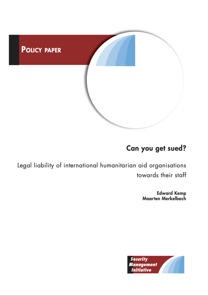 Image for Can you get sued? Legal liability of international humanitarian aid organisations towards their staff