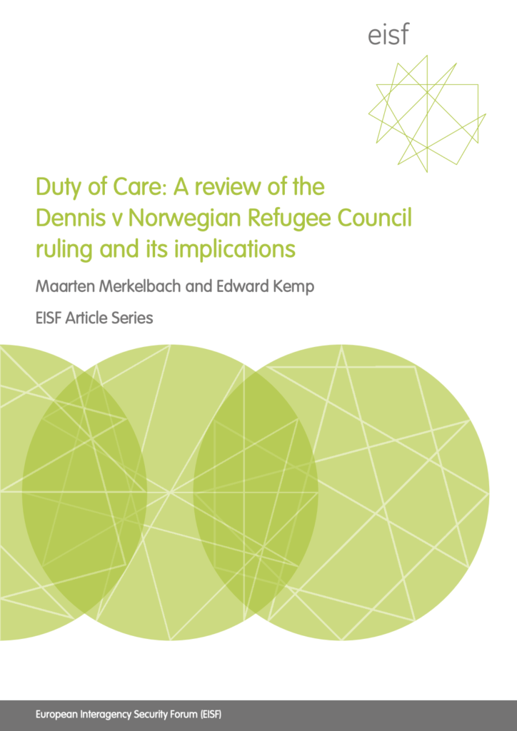 Image for Duty of Care: A review of the Dennis v Norwegian Refugee Council ruling and its implications
