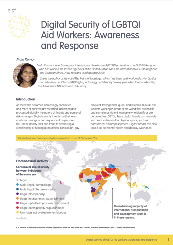 Image for Digital Security of LGBTQI Aid Workers: Awareness and Response