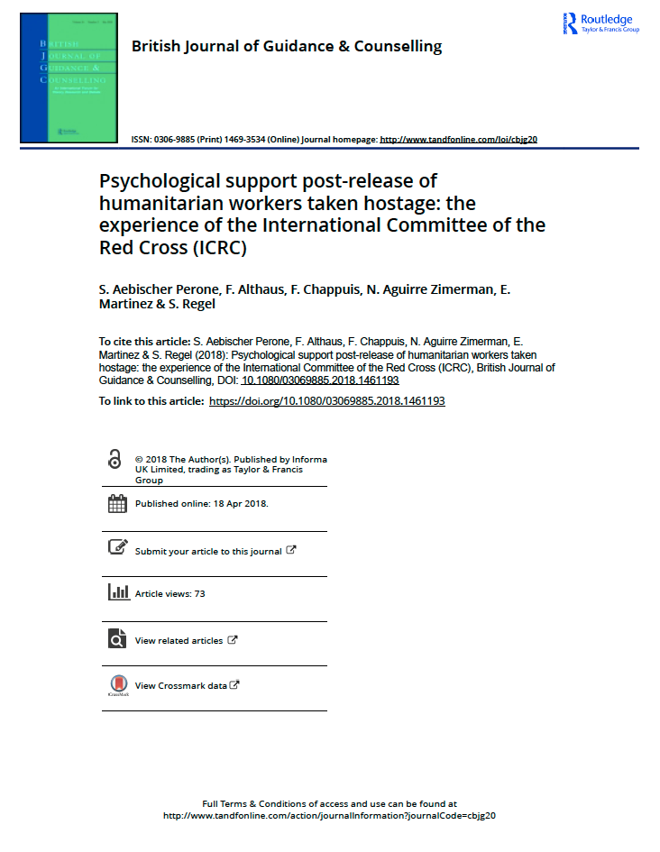 Image for Psychological support post-release of humanitarian workers taken hostage: the experience of the ICRC