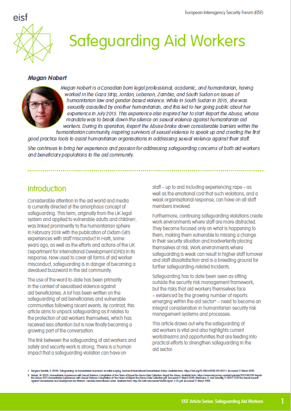 New GISF Article: Safeguarding Aid Workers