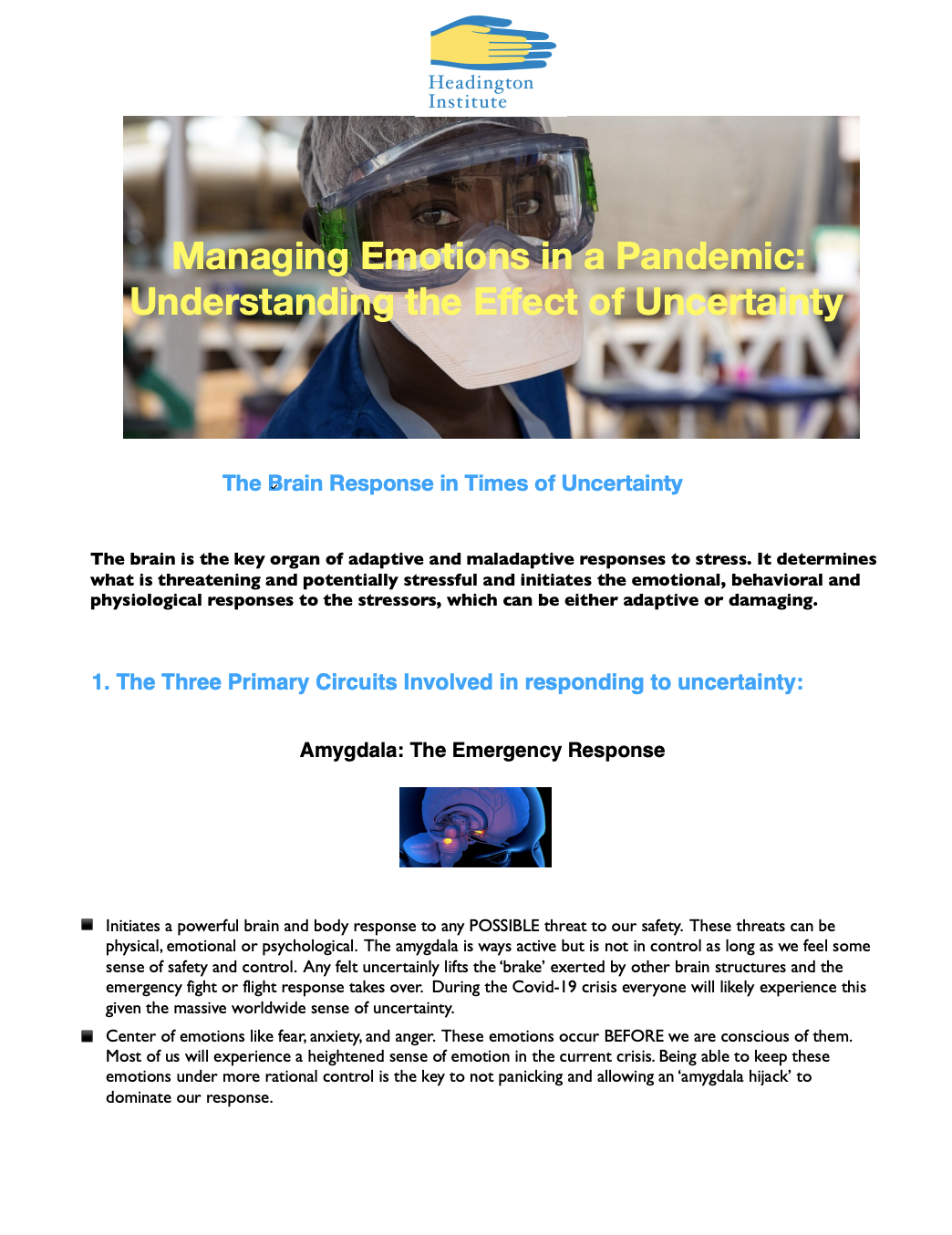 Managing Emotions in a Pandemic: Understanding the Effect of Uncertainty