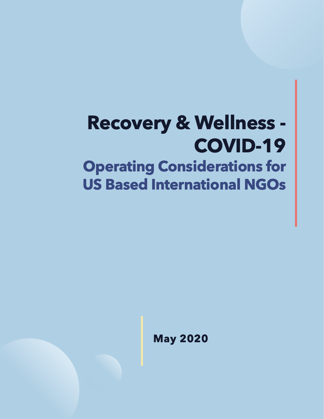 Recovery & Wellness, COVID-19: Operating Considerations for US Based International NGOs