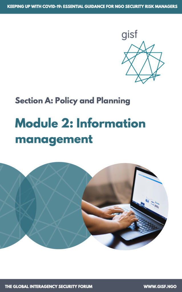 Image for Keeping up with COVID-19: essential guidance for NGO security risk managers – Module A2: Information Management