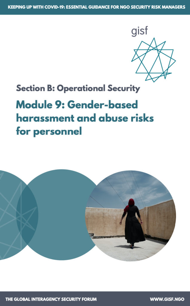 Image for Keeping up with COVID-19: essential guidance for NGO security risk managers – Module 9: Gender-based harassment and abuse risks for personnel
