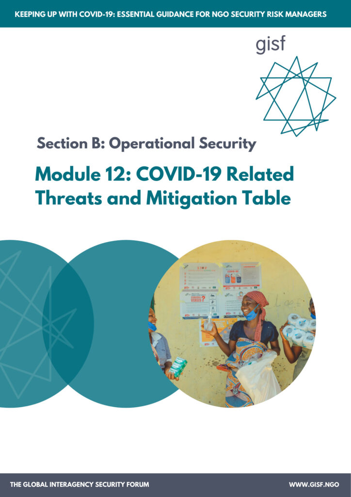 Image for Keeping up with COVID-19: essential guidance for NGO security risk managers  – Module B12: COVID-19 Related Threats and Mitigation Table